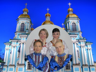 Photo of Lyra ensemble in front of St. Nicholas Cathedral in St. Petersburg